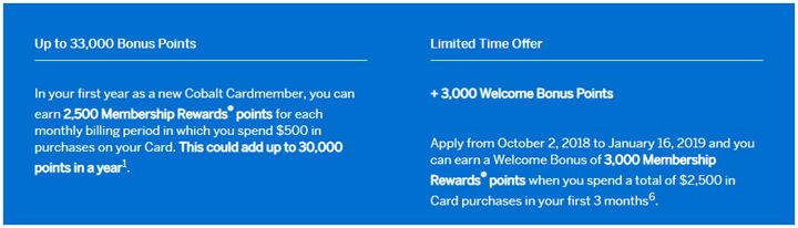 已过期】2019年1月16日前,加拿大Amex Cobalt信用卡30,000+3,000